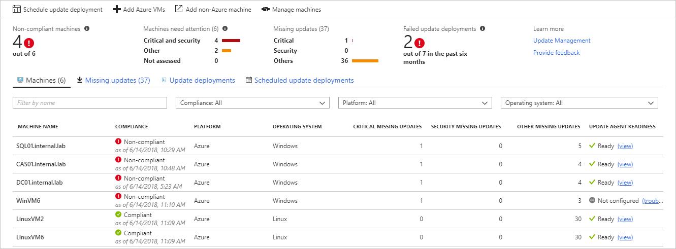Update Management solution in Azure | Microsoft Docs