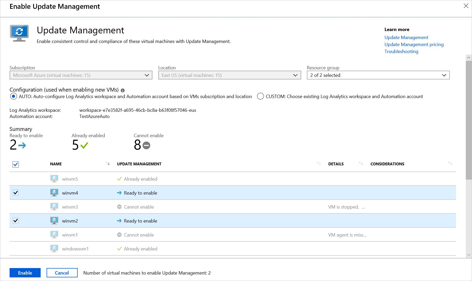 Manage updates for multiple Azure virtual machines