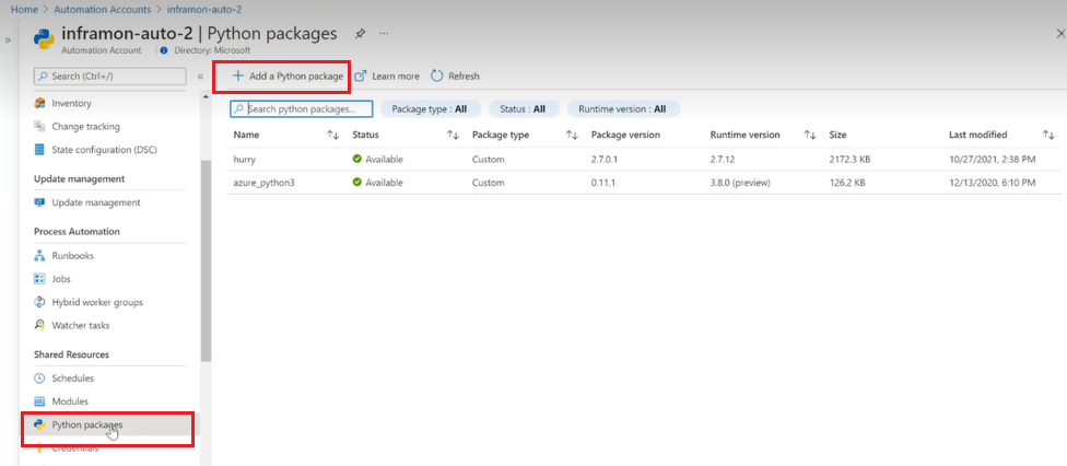 Manage Python 2 packages in Azure Automation | Microsoft Docs