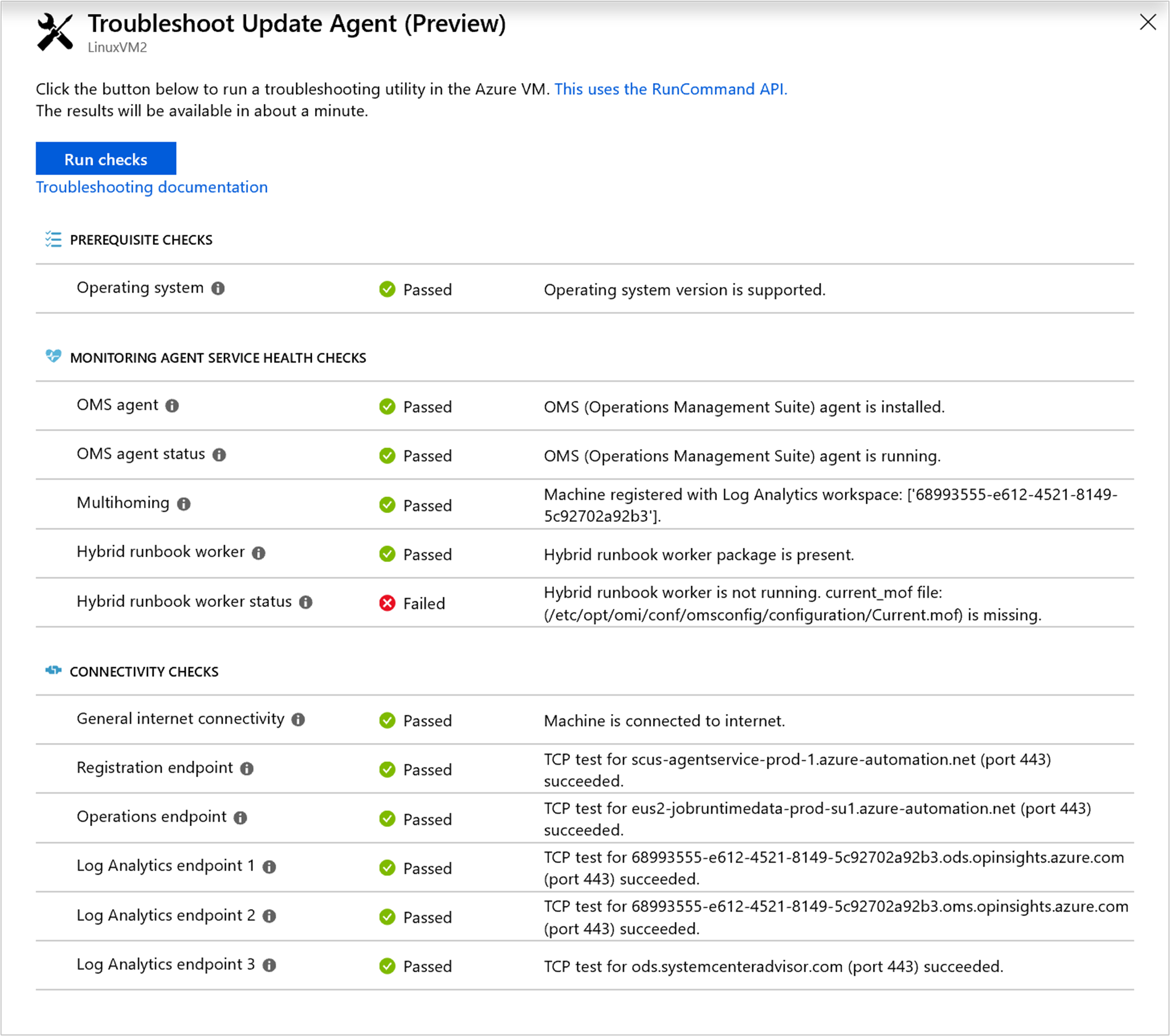 Understand the Linux agent check results in Azure Update