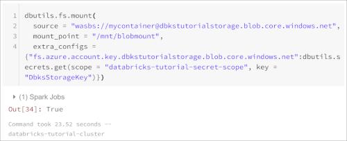 Access Azure Blob Storage from Azure Databricks using Azure