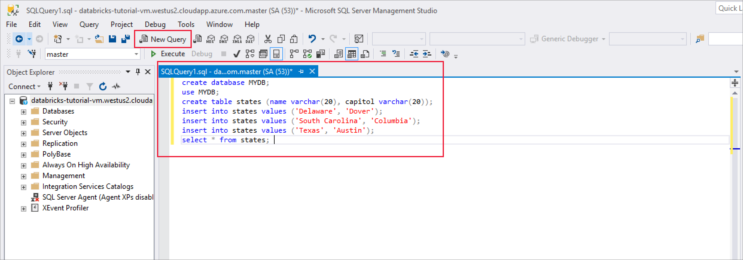 Query a SQL Server Linux Docker container in a virtual