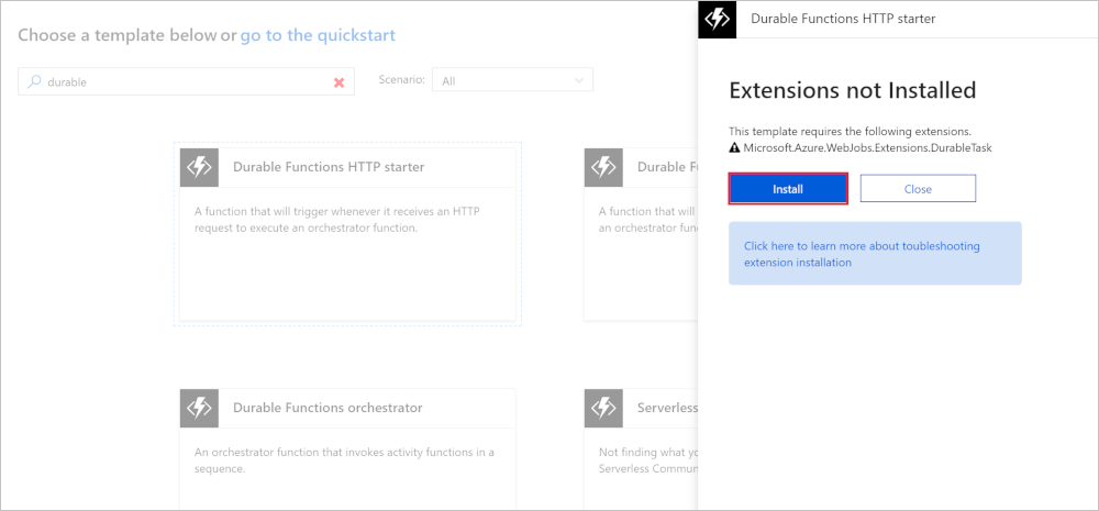 Create Durable Functions Using The Azure Portal Microsoft Docs