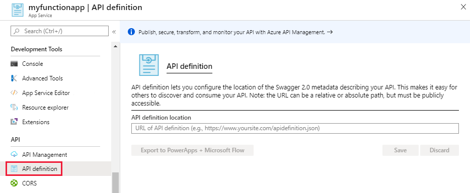 Azure Functions API definition
