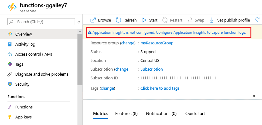 enable application insights - Add Application Insights To Existing Project