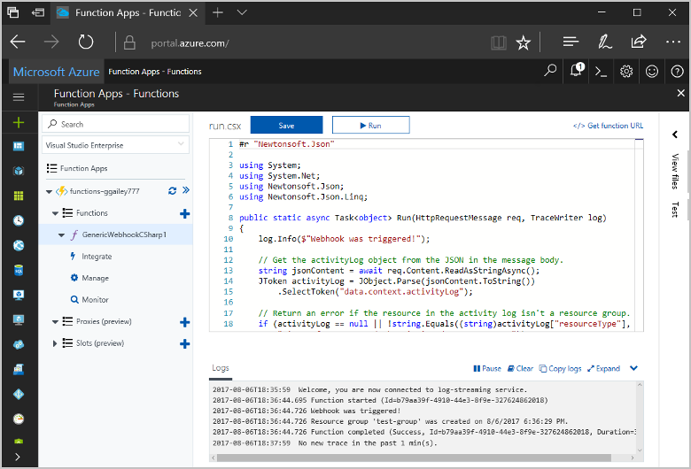 Create A Function In Azure Triggered By A Generic Webhook