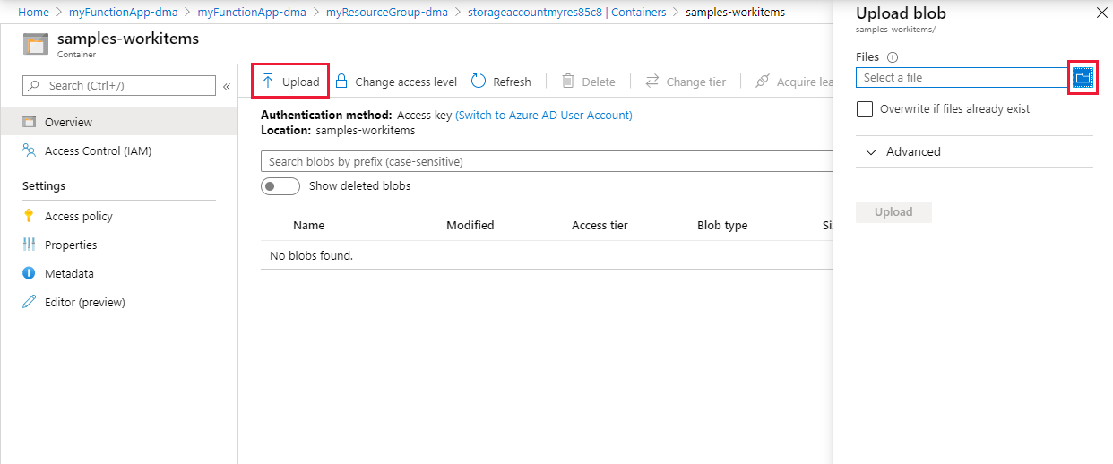 Create a function in Azure triggered by Blob storage