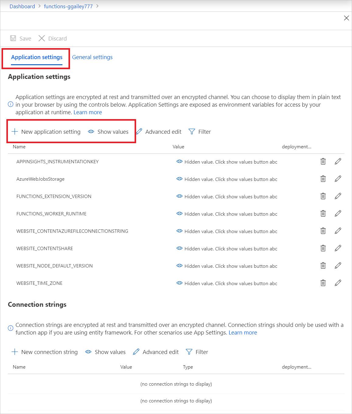 Configure function app settings in Azure   Microsoft Docs