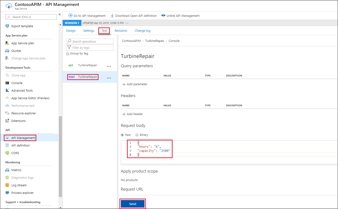 Create an OpenAPI definition for a function with Azure API