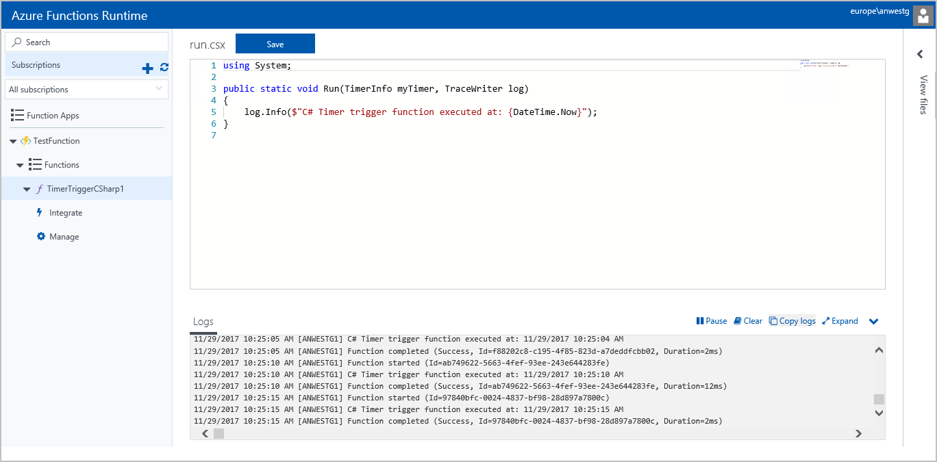 Azure Functions Runtime Preview Portal
