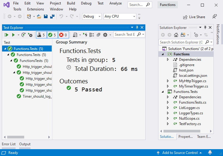 Testing Azure Functions | Microsoft Docs