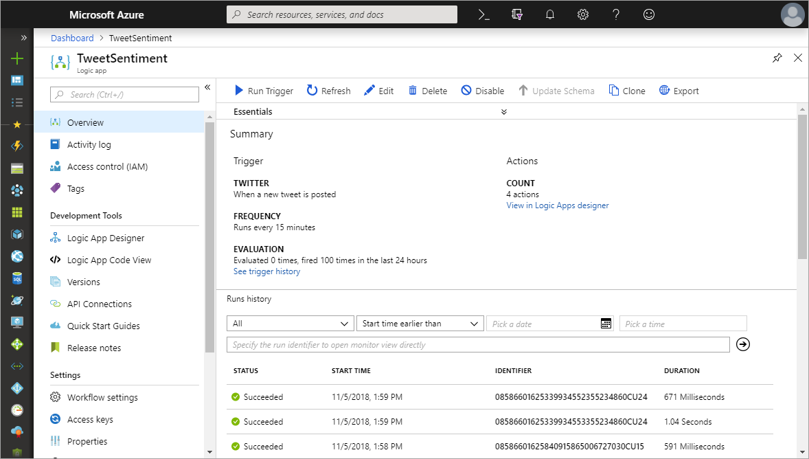 Create a function that integrates with Azure Logic Apps | Microsoft Docs