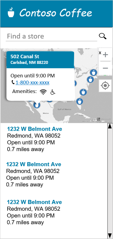 Create a store locator using Azure Maps   Microsoft Docs