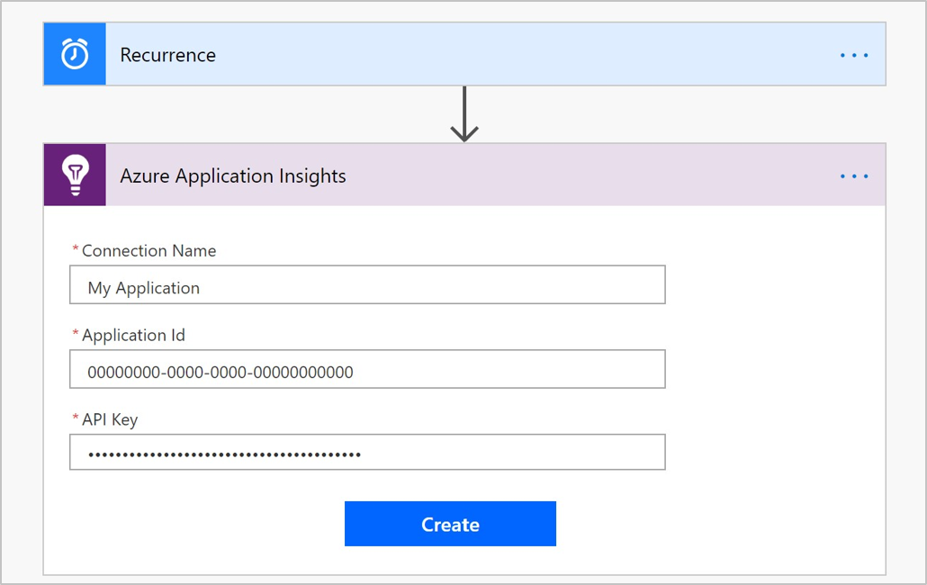 Logic App Designer flow connection window