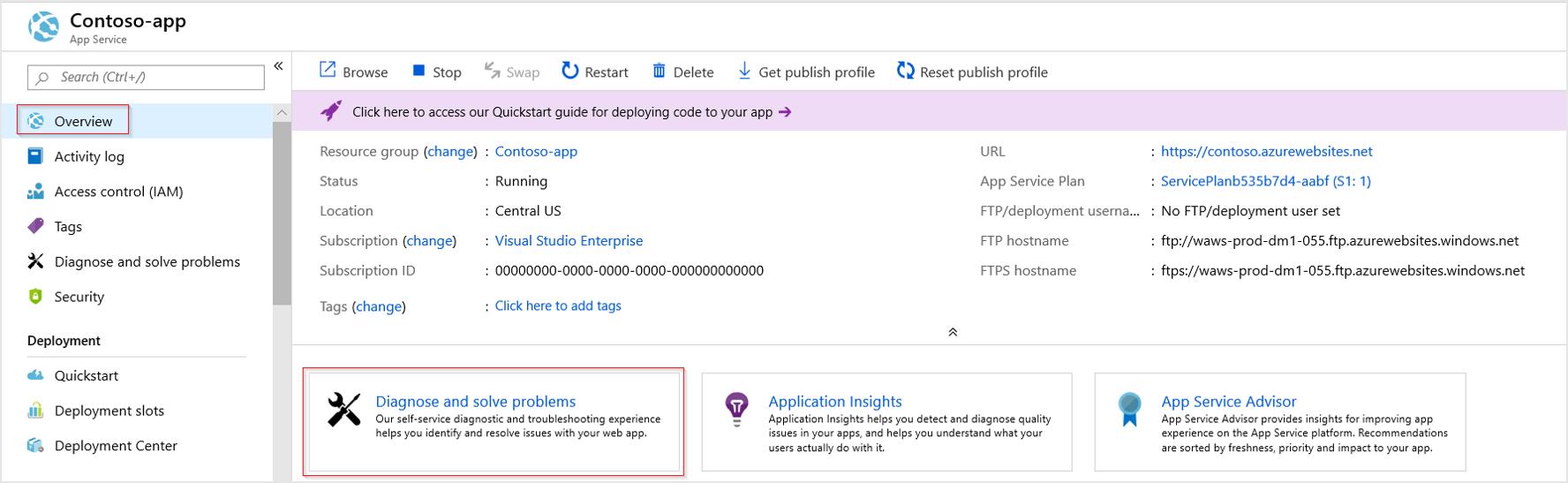 Overview en una App Service, para entrar en la herramienta Diagnose and solve problems