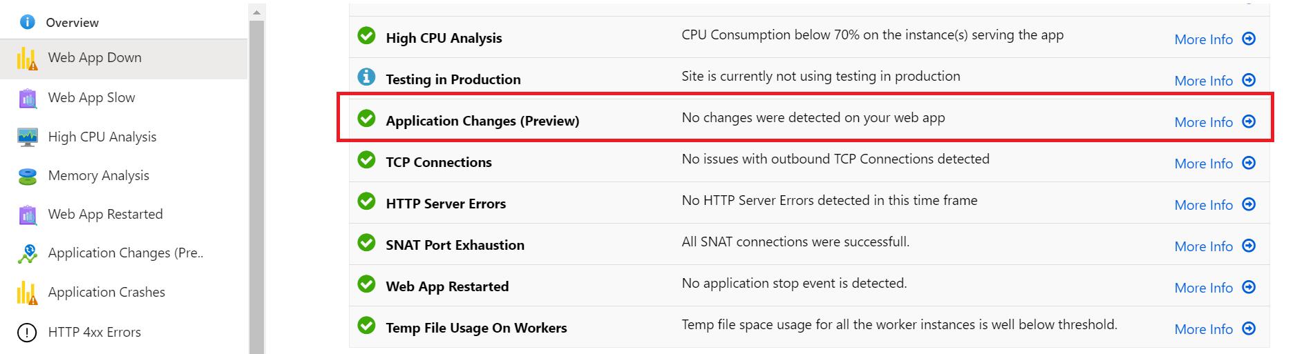 Cambios detectados en una aplicación, después de habilitar el servicio en una App Service