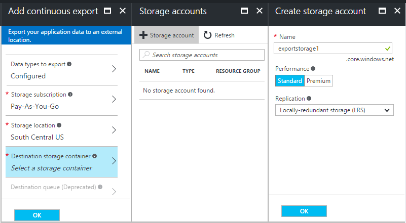 continuous export of telemetry from application insights microsoft
