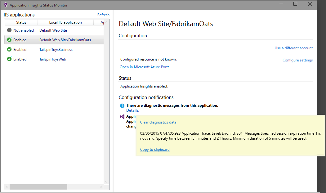 Monitor a live ASP NET web app with Azure Application