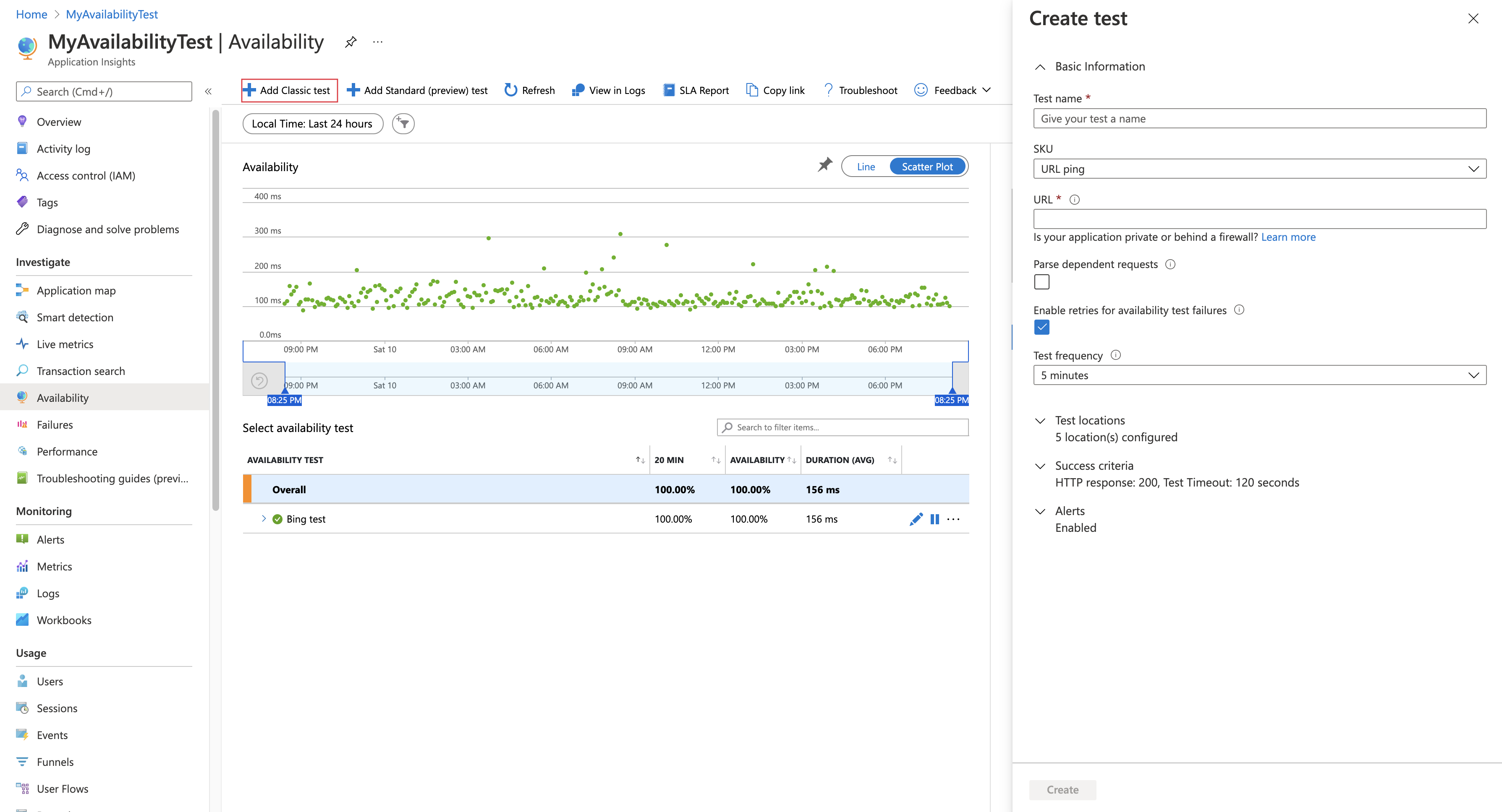 Monitor availability with URL ping tests   Azure Monitor ...