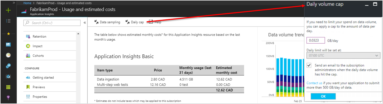 Manage usage and costs for Azure Application Insights