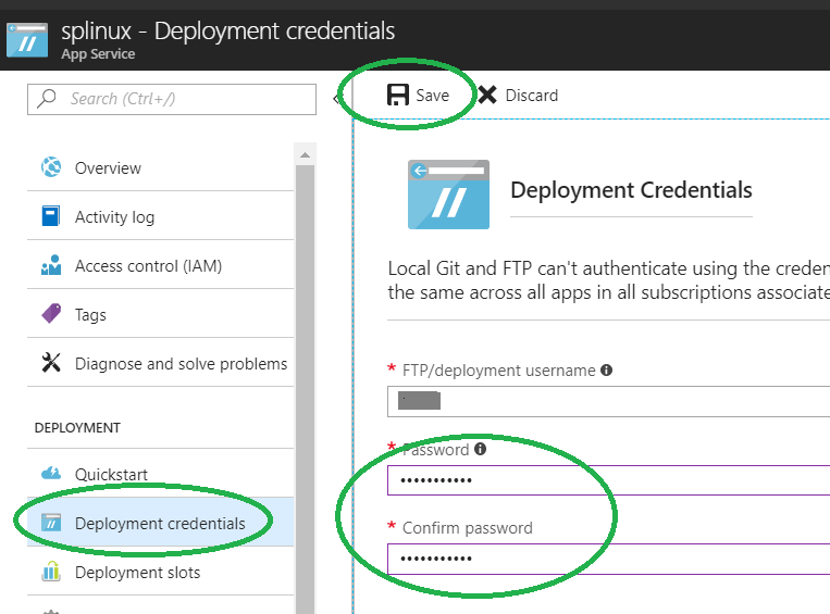 Create the deployment credentials