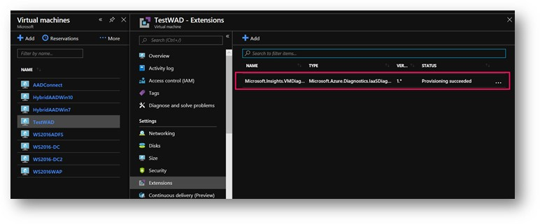 Check if WAD extension is installed