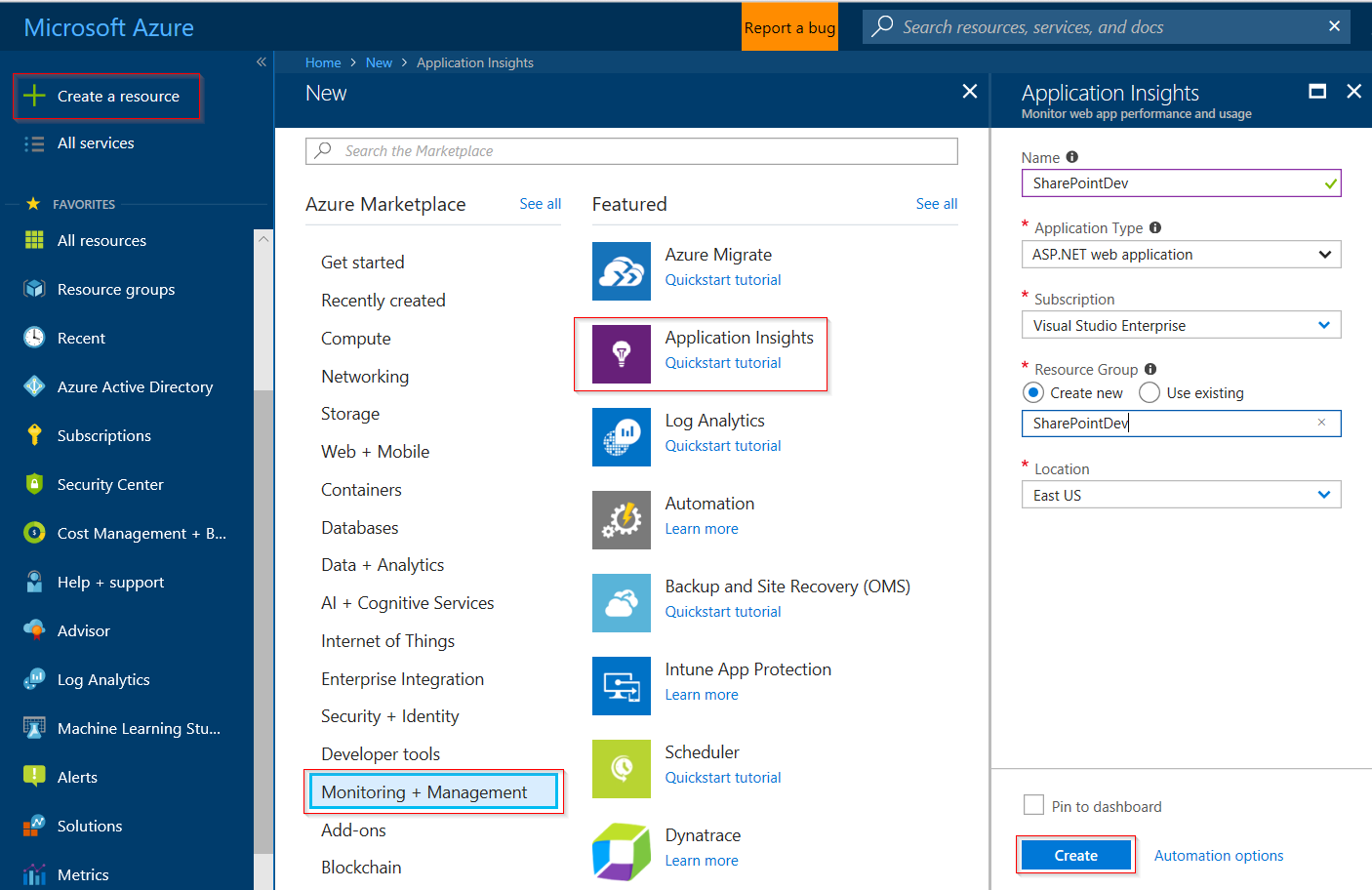 Monitor a SharePoint site with Application Insights