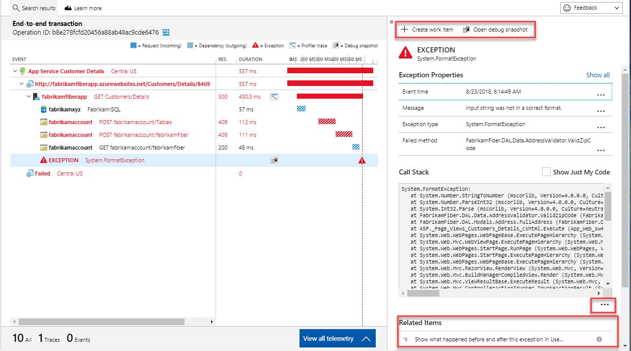 Azure Application Insights Transaction Diagnostics