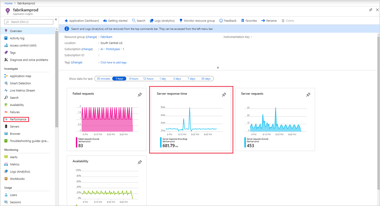Diagnose performance issues using Azure Application Insights