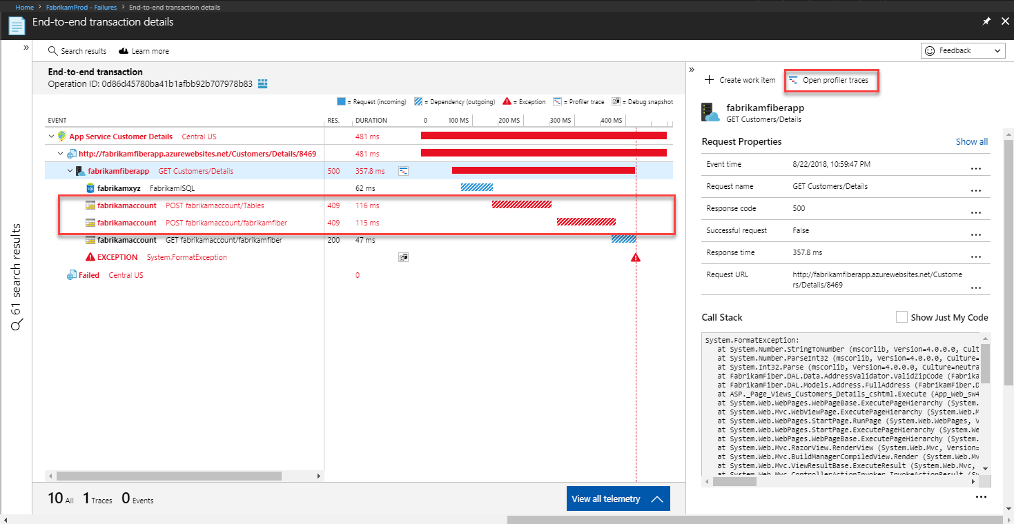 Diagnose run-time exceptions using Azure Application