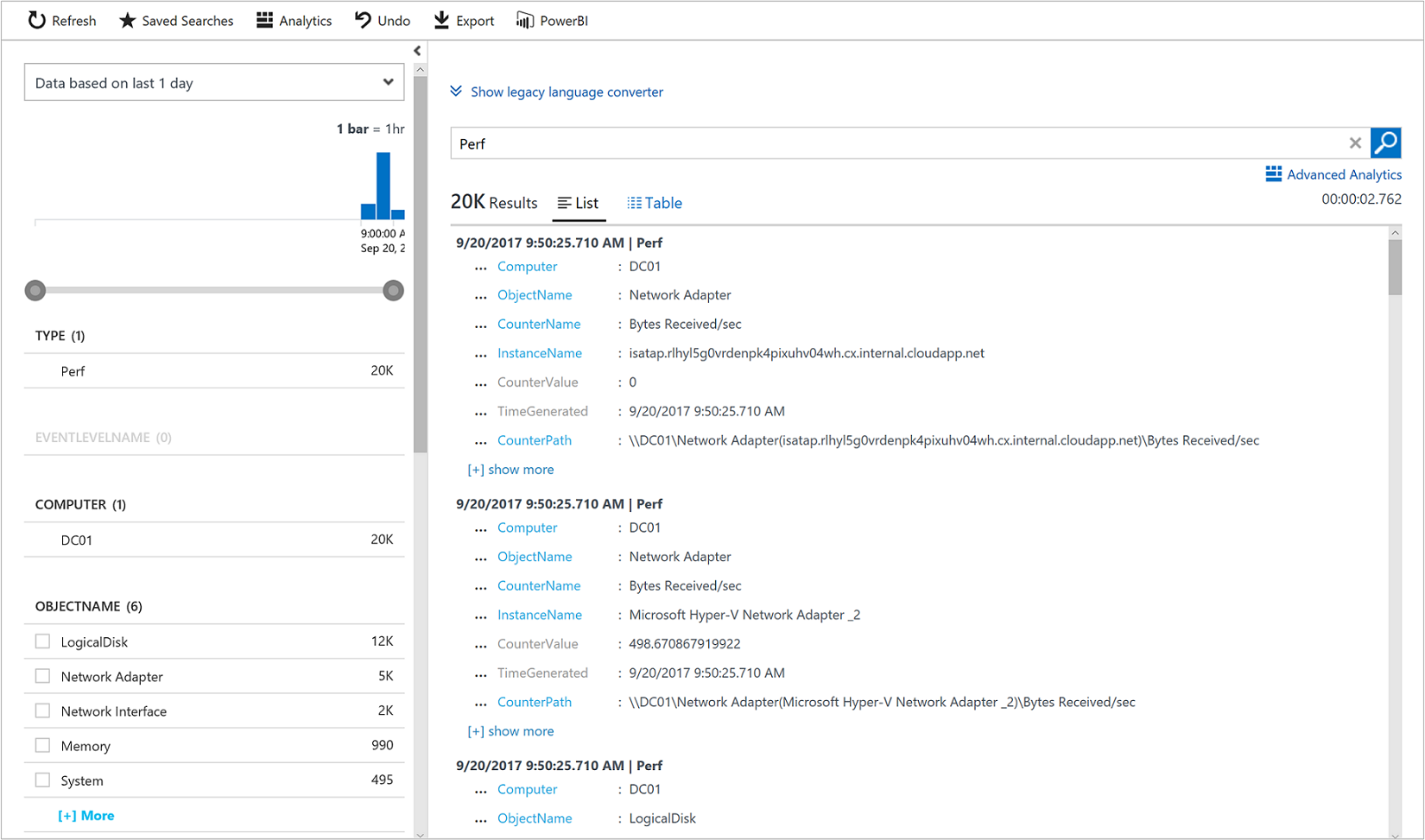 View or analyze Azure Log Analytics data collected | Microsoft Docs