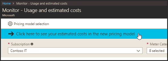 Monitor usage and estimated costs in new pricing model screenshot