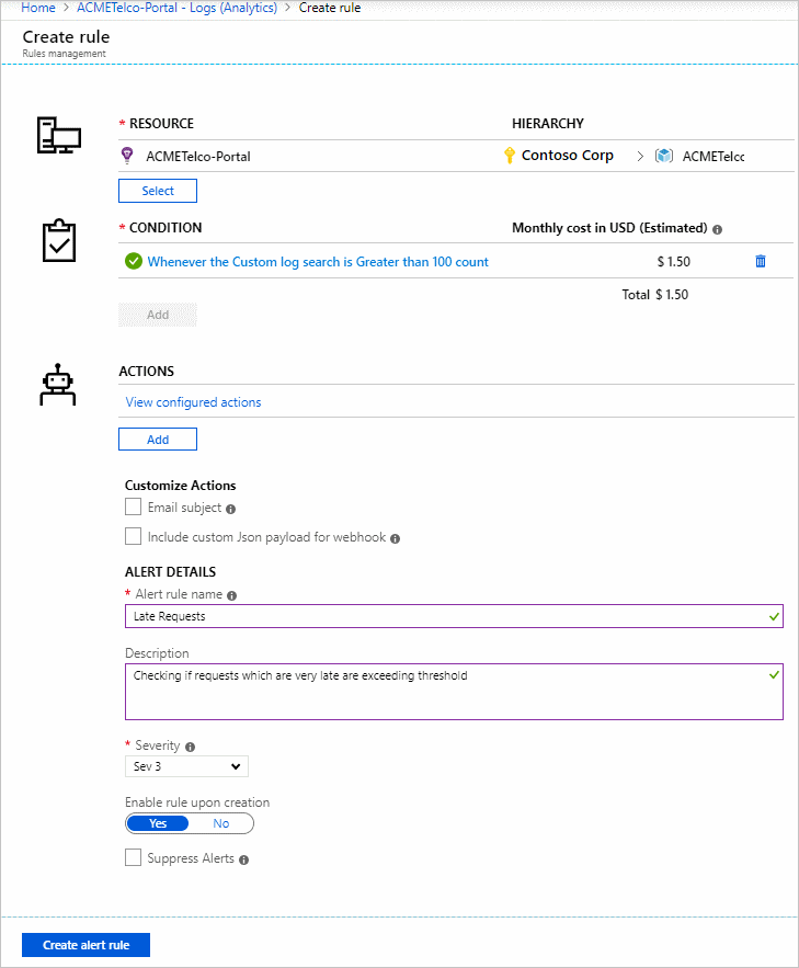 Create, view, and manage log alerts Using Azure Monitor | Microsoft Docs
