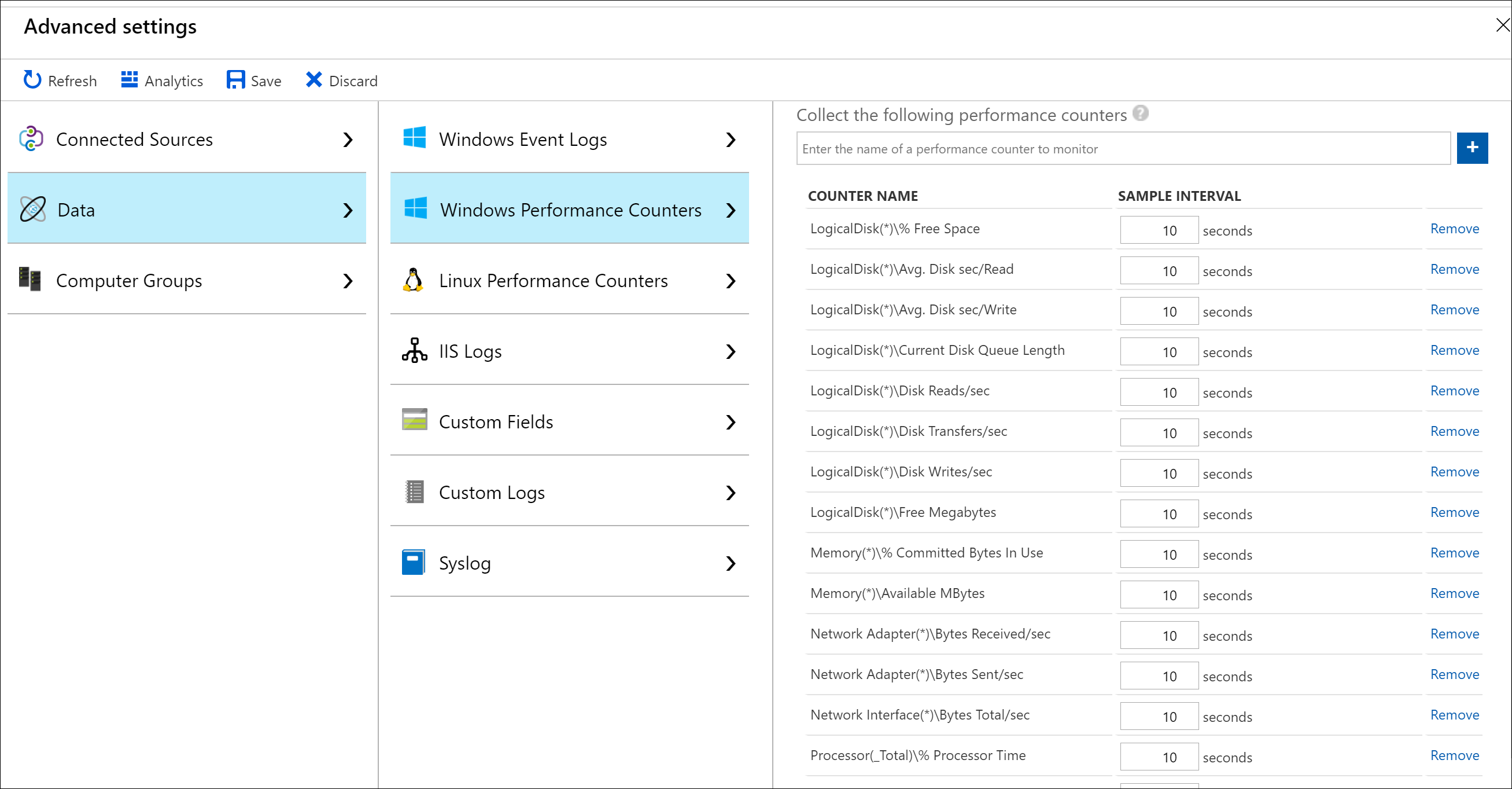 Collect and analyze performance counters in Azure Monitor