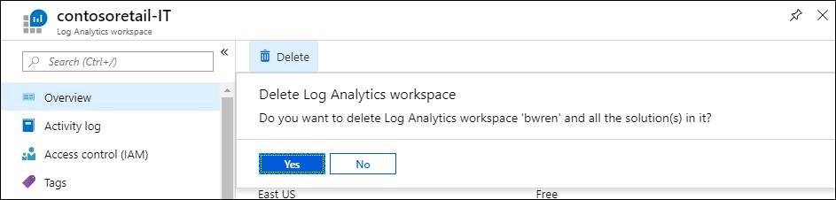 Delete an Azure Log Analytics workspace | Microsoft Docs