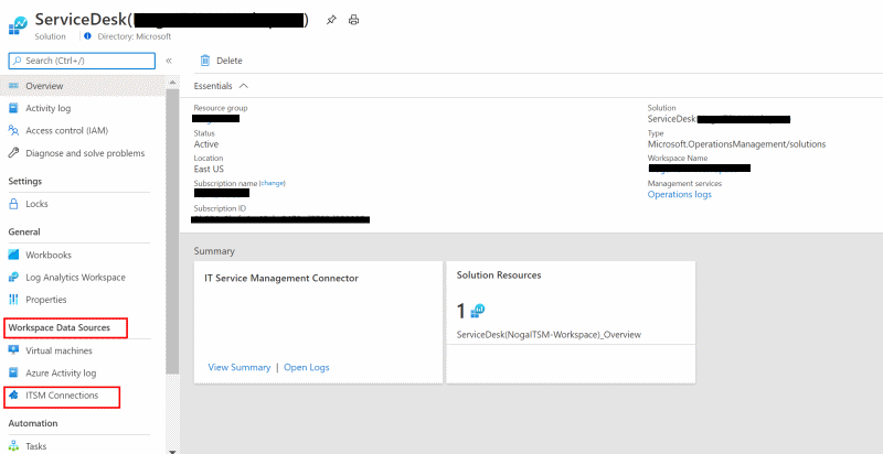 Supported connections with IT Service Management Connector in Azure