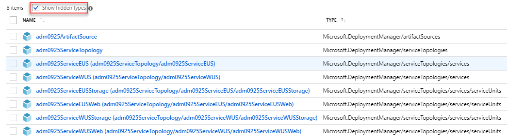 Azure Deployment Manager tutorial deployed service topology resources