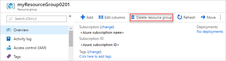 delete azure resource group