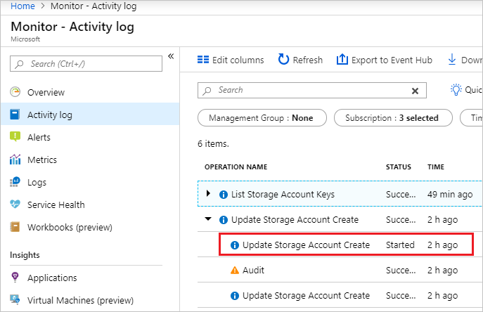 View Azure activity logs to monitor resources | Microsoft Docs