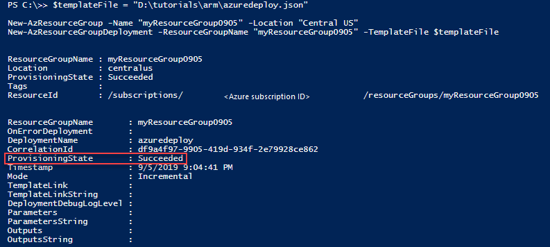 PowerShell deployment provisioning state