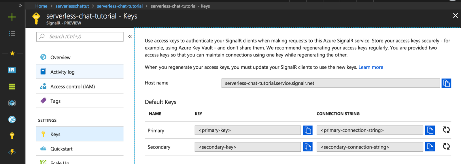 Tutorial: Azure SignalR Service authentication with Azure Functions