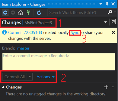 image showing the commit screen once commit is completed