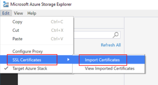 Import the certificate into storage explorer