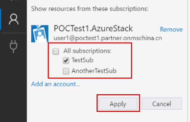 Select the Azure Stack subscriptions after filling out the Custom Cloud Environment dialog box