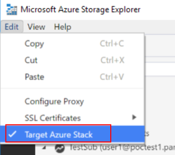 Ensure Target Azure Stack is selected