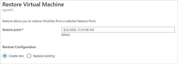 Azure Backup: Restore virtual machines by using the Azure