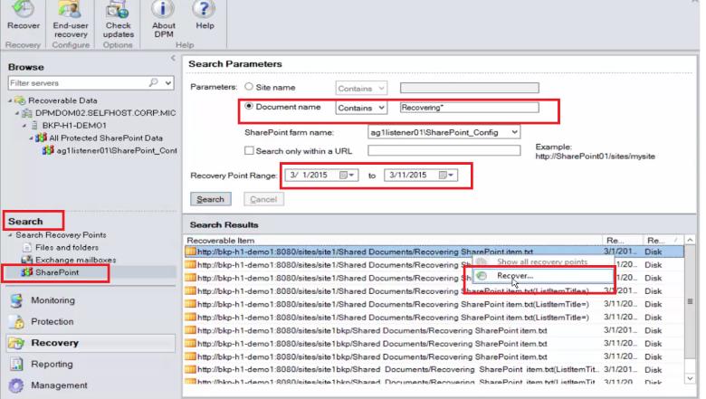 dpm azure backup server protection of a sharepoint farm to azure