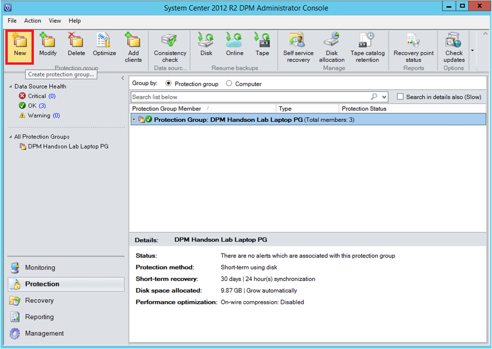 Image result for how to create protection group in dpm 2012