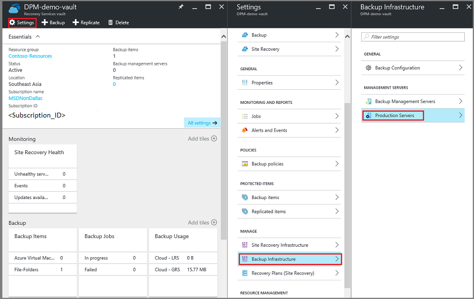 Delete a recovery services vault in azure microsoft docs for Production vault