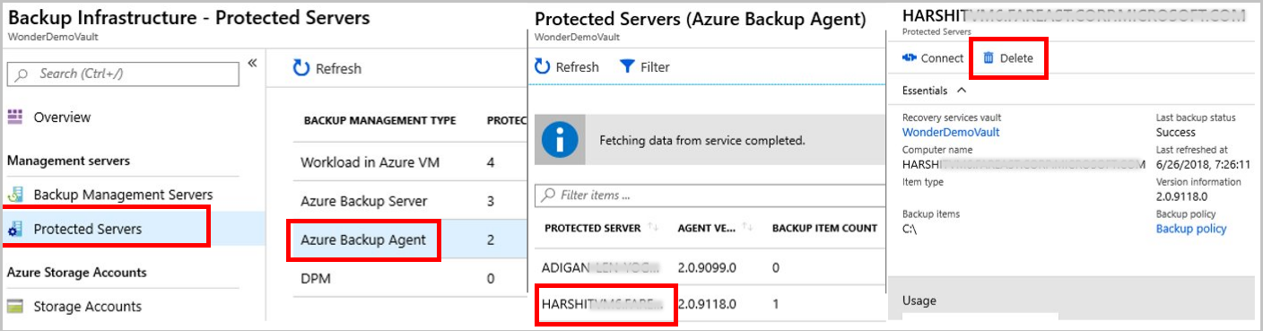 Delete a Microsoft Azure Backup Recovery Services vault